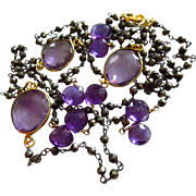 "38"" Natural Amethyst-Pyrite-Mixed Metals-Oxidized Sterling Silver-Gold Vermeil-Long Layer"