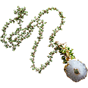 Solar Stalactite Quartz-Peridot Fringe-August Birthstone-Pendant Charm Gold Fill Necklace
