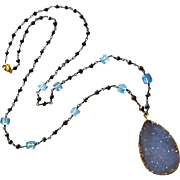 Exceptional Natural Blue Chalcedony Druzy-Blue Topaz-Pyrite-Oxidized Silver Drusy Pendant Neck