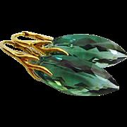 Green Amethyst-Prasiolite-18k Gold Vermeil Drop Shape-Branch Leverback Earrings
