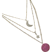 The Moon-Star-Red Planet-Pave Diamond-Pave Ruby-3 Strand Pendant-Oxidized Black Sterling Silve