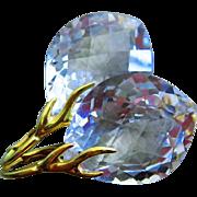 Exceptional Crystal Quartz Plump Marquises-18k Gold Vermeil Branch Leverback Earrings