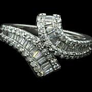 SALE Vintage-1.28ct Diamond-14k White Gold Bypass Anniversary Ring-Baguette Brilliant Diamond-