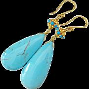 Genuine Kingman Arizona Turquoise-18k Solid Gold Dangle Earrings
