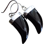 Black Onyx Horn-Contemporary Sterling Silver Dangle Everyday Earrings