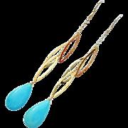 Genuine Sleeping Beauty Turquoise-14k Solid Gold Long Dangle Earrings