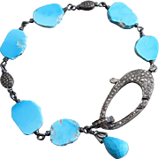 Genuine Sleeping Beauty Turquoise-Pave Diamond Focal Clasp-Oxidized Sterling Silver Bracelet w
