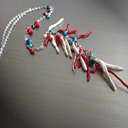 SOLD Genuine Mediterranean Branch Coral~FW Stick Pearl~Turquoise~Sterling Silver Rhodium 25""