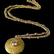 SOLD Contemporary-Textured 18k Gold Vermeil-Bezel CZ Studded Pendant-14k Gold Fill Necklace