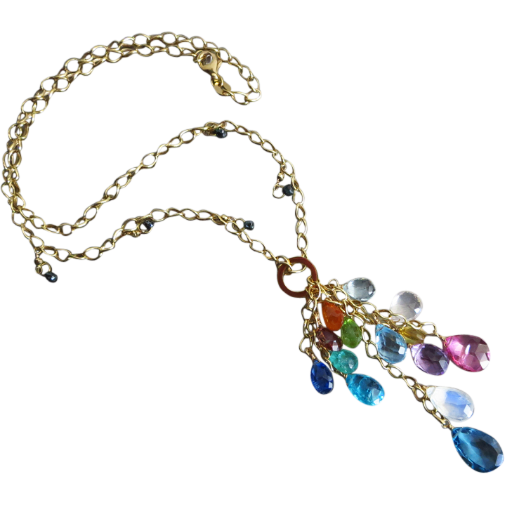 Teal Blue Diamonds~Columbian Emerald~Sapphire~Kyanite~Pink and London Blue Topaz~Tourmaline~Mandarin Garnet~Multi Gems~14k Solid Gold Cascade Necklace~