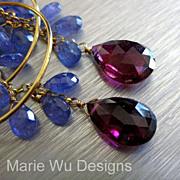 Luxuriant Tanzanite~8.5ct NATURAL Rubellite Tourmaline~14k Solid Gold Hoop Chandelier Earrings