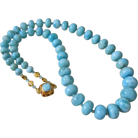 AAA Rare Larimar~Apatite~Solid 22k 18k Gold Necklace with Larimar Clasp~