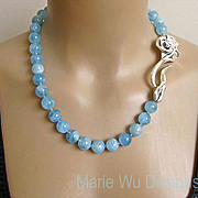 "12mm NATURAL Aquamarine Spheres~March Birthstone~3"" Sterling Rose Clasp Hand Knotted Neck"