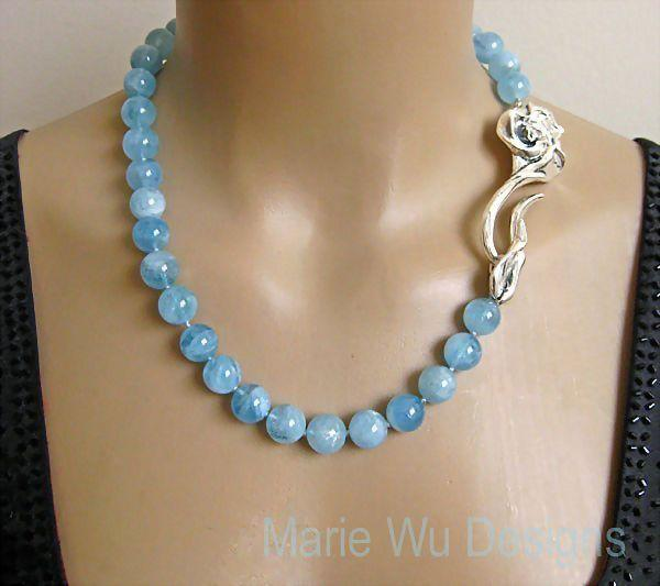 """12mm NATURAL Aquamarine Spheres~March Birthstone~3"""" Sterling Rose Clasp Hand Knotted Necklace~"""