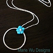 Sleeping Beauty Carved Blossom-Brushed Satin Sterling Silver Hoop Pendant Necklace