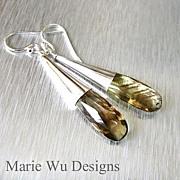 SALE Natural Phantom Bi-Color Green Gold Quartz-Sterling Contemporary Earrings