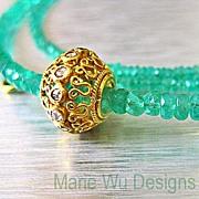 SALE Genuine Columbian Emerald 22.15ct-Rose Cut Diamond Pendant-18k-20k Solid Gold Necklace-Ma