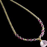 Captivating-Madagascar Pink Rose Quartz Pendant-Rubellite Pink Garnet-18k Gold Necklace