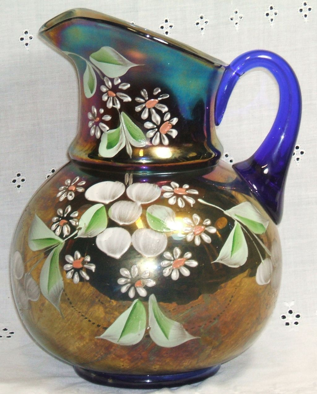 Fenton Cobalt Blue Carnival Glass Pitcher Hand Painted Cherry Blossom