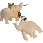 Carved Faux Ivory Elephant Earrings with French Hooks