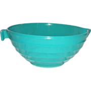 Green Concentric Band/Ring Glass Batter Bowl Pitcher
