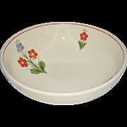 Universal Potteries Cambridge Serving Bowl Orange Blue Flowers