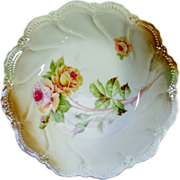 Lehmann's & Sons Floral Serving Bowl Hand Painted Roses Must See