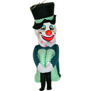 Large Unusual Knee Hugger Ornament is a Musical Clown!
