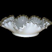 """12"""" Ruffle White Fenton Silver Crest Bowl"""