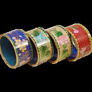 Set of 4 Cloisonne Brass Enameled Napkin Ring Floral