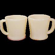 2 Vintage Ivory D- Handle Flat Bottom Mugs Fire King Anchor Hocking