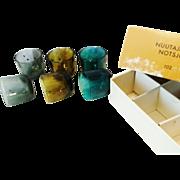 Nuutajarvi Notsjo 102 Boxed Set of multi colored Sake Cups /shot glasses