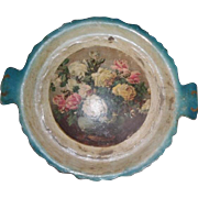 Old Paper Mache Hand Painted Tray Blue with roses