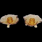 Amber Elegant Depression Glass 3-toed Taper Candle Holder