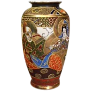 Japanese Vase Moriage Kannon & Rakans Signed