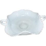 Translucent Fenton 2-Handle Bird Bluebird Bon Bon Dish/ Bowl White / Milk Glass