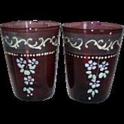 2 Victorian Purple / Amethyst Glass Tumblers Enameled Flowers