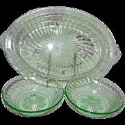 Green Florescent Depression Glass Platter & Bowls Swirl / Spiral