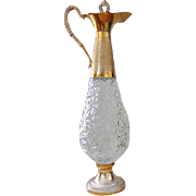 Glass & Gold Tone Norleans Italian Glass Decanter with Cork/Stopper