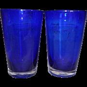 2 Large Cobalt Blue Blown Glass Tumblers w/Clear Base w/Pontil