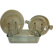 3 PC Fire King Sapphire Blue Philbe Trivet, Loaf Pan and Pie
