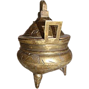 Chinese Carved/Etched Brass Censer / Incense Burner Signed