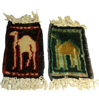 2 Small Wool Vintage Persian Carpet Doll House Rugs Camels Dollhouse