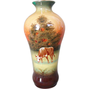 Robert Hanke Porcelain Vase Hand Painted Rural Scene Cow