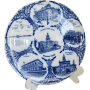 Denver Colorado Souvenir Plate Flow Blue Images Of Landmarks
