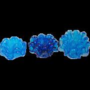 Blue Italian Art Glass Stacking Sets of 3 Ashtray Mint / Nut Bowls