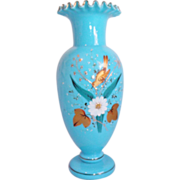 Blue Blown Bristol Glass Vase Hand Painted, Ruffled & Fantastic