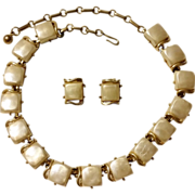 Coro Lucite Thermoset Pearlized Moon Glow White Necklace & Clip Earrings Set