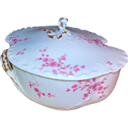 Antique Haviland Limoges H&co/L Tureen / Covered Dish 1875-1882 Pink Flowers / Gold Accents