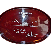 Unusual Red Lacquer Tray UN Village 1971 (Seoul, South Korea) Inlaid Mother Of Pearl